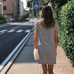 Old Navy Navy and White Striped T-shirt dress